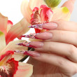 Manicured acrylic nails — Stok fotoğraf