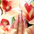 Manicured acrylic nails — Stock Photo