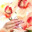 Manicured acrylic nails - Stock Photo