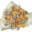 Money and gold jewelry — Stock Photo
