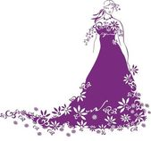Silhouette of young beautiful bride — Stock Photo