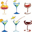 Stilyzed vector various colored decorated cocktails — Stock Photo