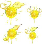 Stilyzed vector fruits with hooney dripping — Stok fotoğraf