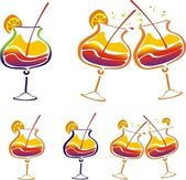 Stilyzed vector colored decorated cocktail — Stock Photo