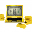 Royalty-Free Stock Photo: Golden success computer surrounded  golden bars