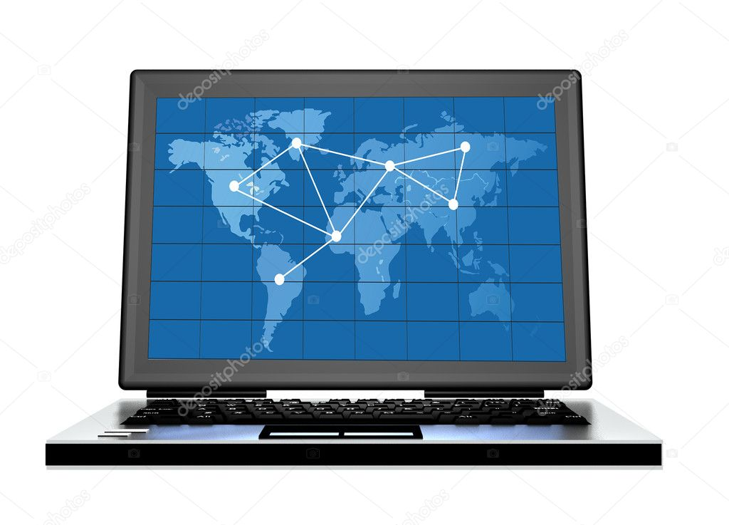 Computer with blue world map on screen with direction lines — Stock Photo #3922623