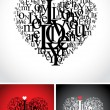 Love typographic composition in a heart - Stock Vector