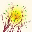 Spring tree branches silhouette — Stock Vector