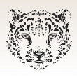 Stock Vector: Snow leopard head