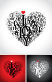 Love typographic composition in a heart — Stock Vector