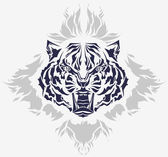 Roaring tiger head and flames — Stock Vector