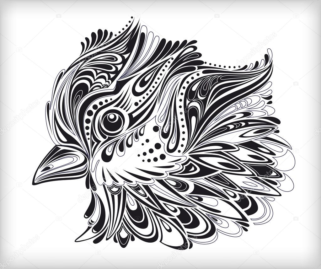Decorative bird artwork with beautifully stylized feathers (curve splattered elements). High quality vector background. — Stock Vector #2702663