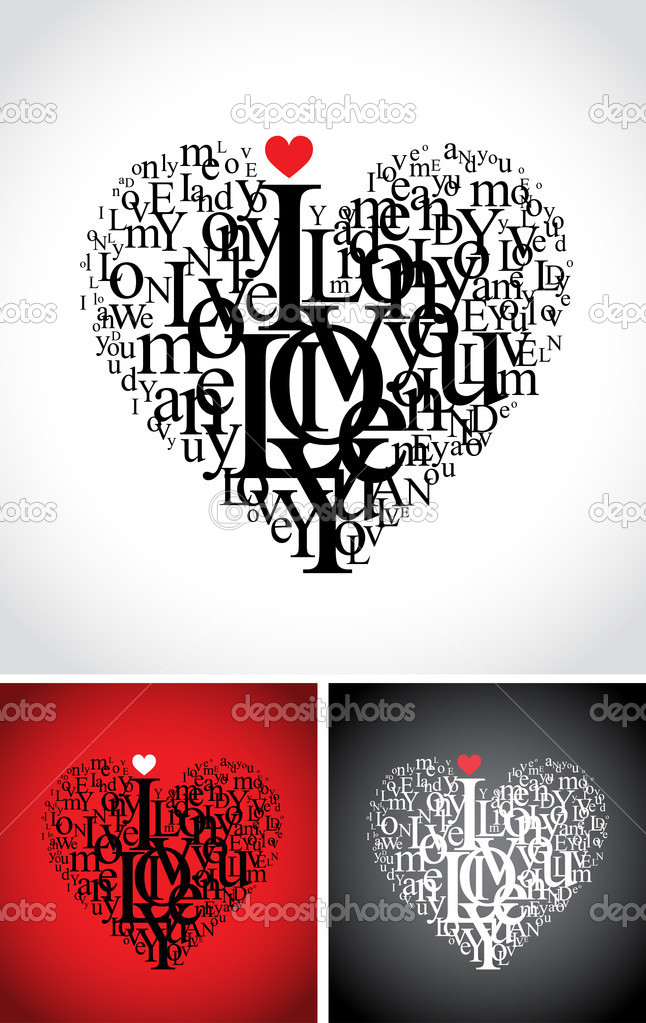 love typographic composition in a heart shape with i love you text - isolated on black, white and red backgrounds — Stock Vector #2702786