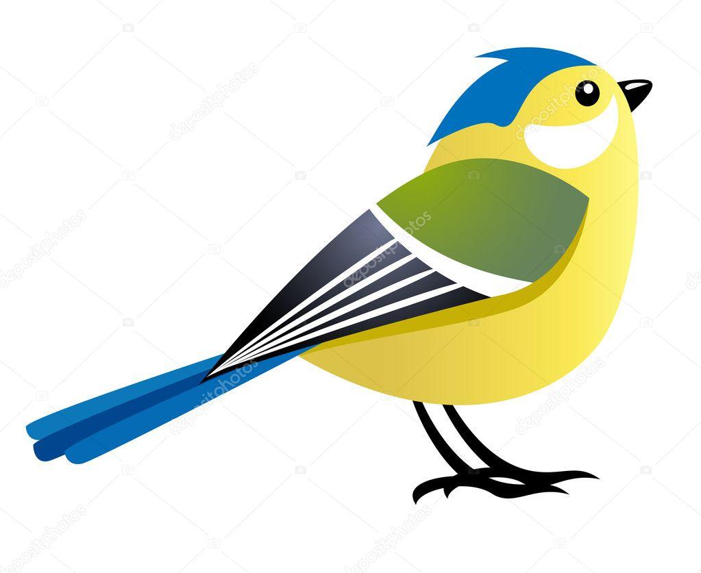 Uccello simpatico cartone animato — vettoriali stock