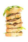 Tower of sandwiches: pate and arugula leaves — Stockfoto