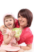 Happy family. Mother and child laughing and hugging. — Stock Photo