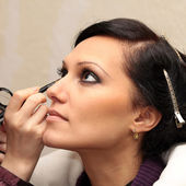 Backstage of professional make up making — Stok fotoğraf