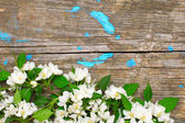 Old wooden surface with apple blossom. Background — Stock Photo
