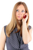 Beautiful blond girl talking on cell phone — Stock fotografie