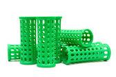 Rolos verdes isolados em um fundo branco — Foto Stock