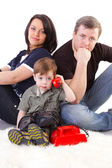 Happiness family on the white background — Foto de Stock