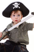 A young boy dressed as a pirate. — Stock Photo