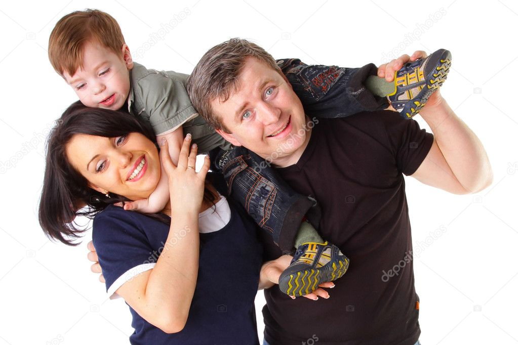 Happy family. Father, mother and child isolated on white background — Photo #3506231