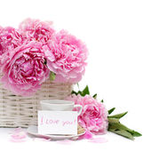 Romantic breakfast, flower and a blank poster card with a note o — Stock Photo