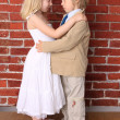 Little boy hugging a beautiful girl. Love concept. Series — Stock Photo