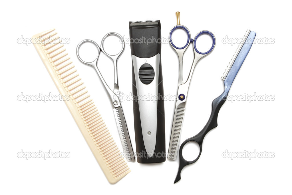 Hairdressing industry. Professional hairdressing tools. Comb, scissor, clippers and hair trimmer isolated on white background — Stock Photo #3735825