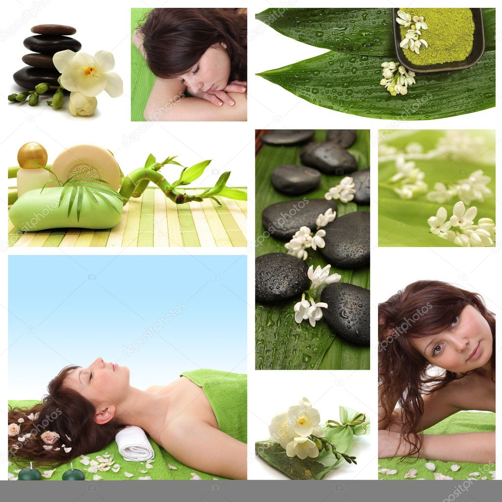 Green collage of wellness - spa issues with beautiful young women and a flower — Stock Photo #3735934