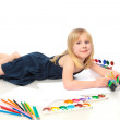 Cheerful child with paint end pensil — Stock Photo #3857384