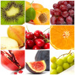 colorful fruit collage of nine photos — Stock Photo