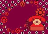Wallpaper in erwten met de afbeelding telefoon — Stockvector