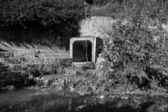 Waste water and sludge from a drain contaminating a small river. Black and white. — Stock Photo