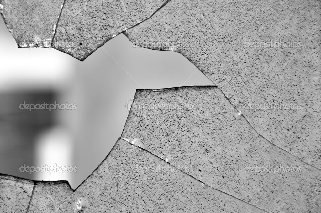 Broken glass window cracked surface texture. Black and white. — Stock Photo #3448935