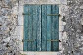 Obturador da janela azul — Fotografia Stock