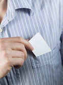 Blank business card in pocket — Stock Photo