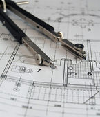 Divider on architectural plan — Stock Photo