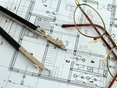 Making architectural plan — Stock Photo