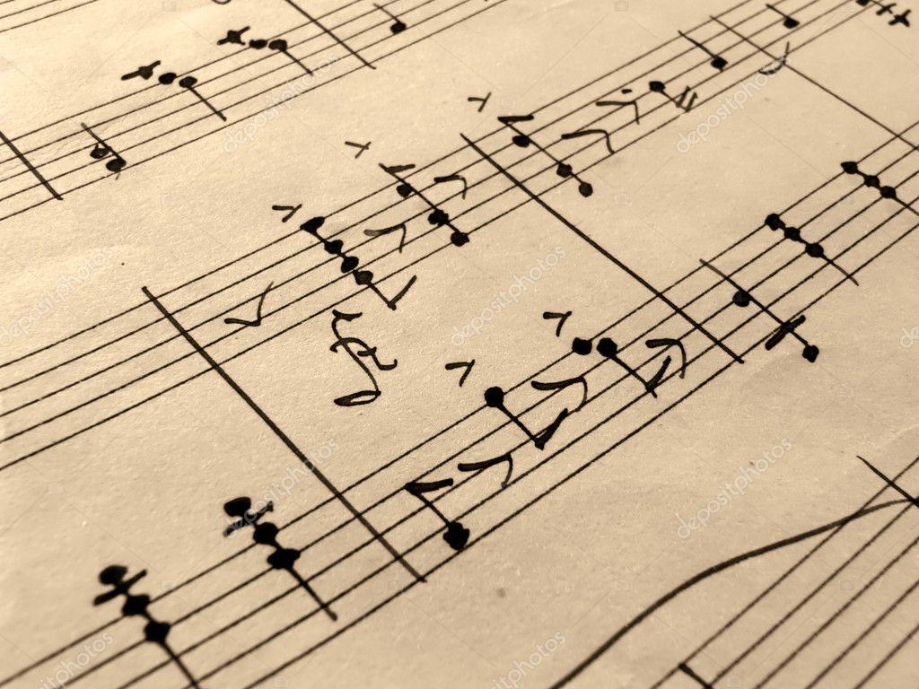 Antique Sheet Music Wallpaper Closeup of Music Sheets on an
