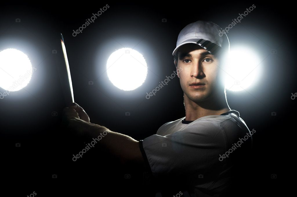 Baseball player with a bat in stadium — Stock Photo #2819458