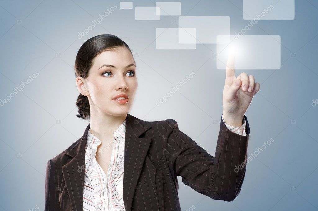 A young beautiful businesswoman making choise  Stock Photo #2991752