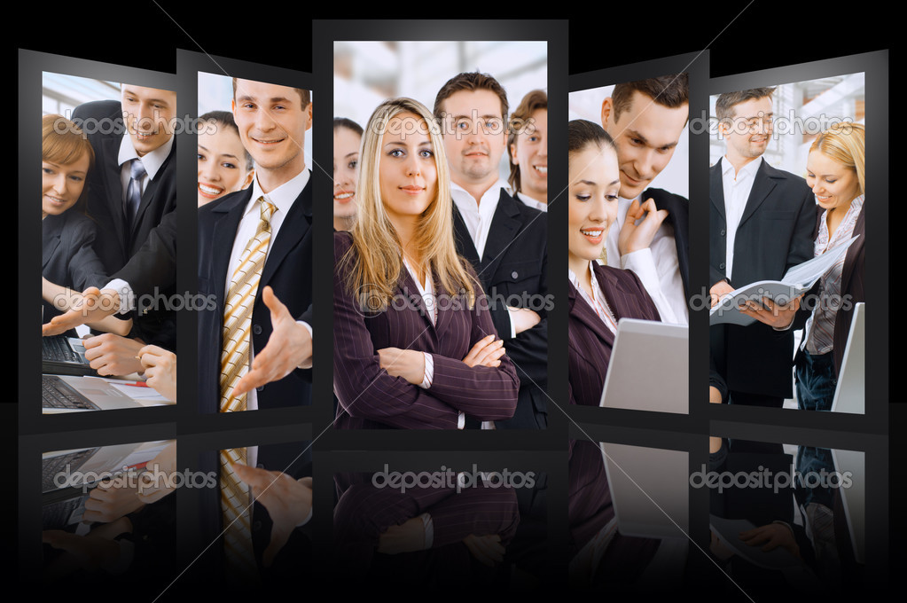 Team of successful smiling young business — Stock Photo #3770345