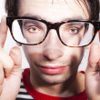 Funny face guy with glasses - Foto Stock