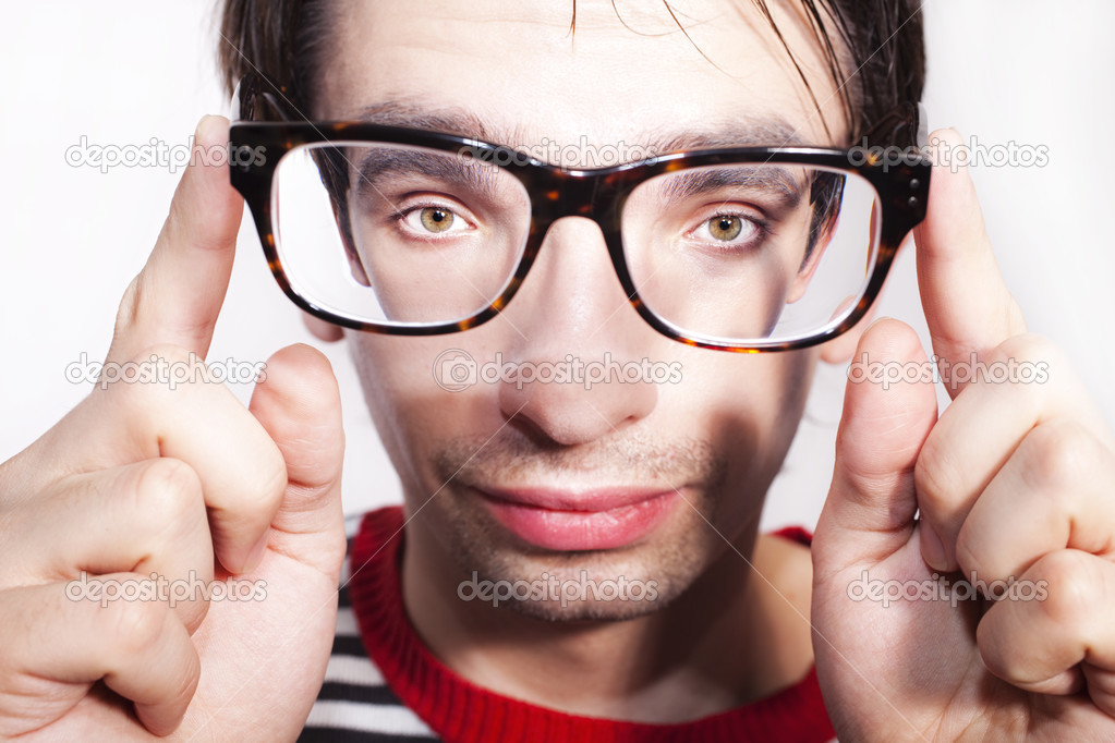 Funny face guy with glasses close-up — Stock Photo #2695503