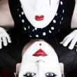 Double portrait mimes with green eyes — Stock Photo