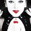 Two mimes with blue eyes — Stock Photo