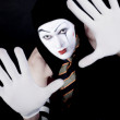 Portrait of mime in white gloves — Stock Photo #3307197