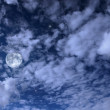Night landscape with the moon, clouds and stars — Stok fotoğraf